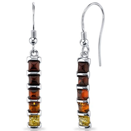 Square Shape Baltic Amber Sterling Silver Drop Earrings Rhodium Finish
