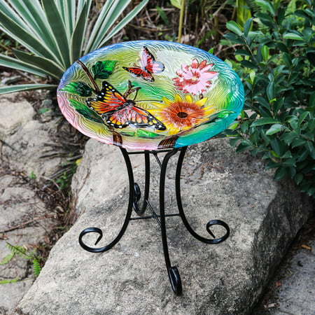 Butterfly Birdbath - Winsome House Butterflies with Flowers Bird Bath