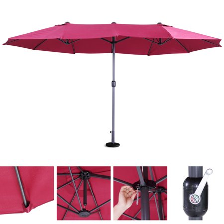 Jaxpety 15 Ft Large Size Patio Umbrella Outdoor Garden Yard Market Sunshade with Crank