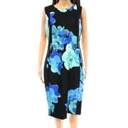 calvin klein new black blue women's size 2 sheath floral print dress