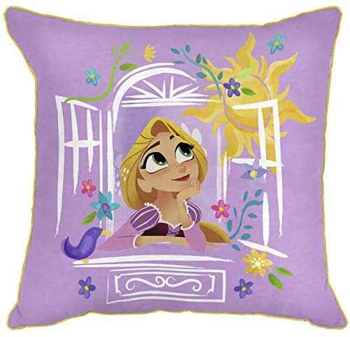 "Disney Tangled There Is More 14"" x 14"" Decorative Toss Throw Pillow, Purple/Gold"