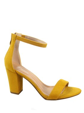 Hannah-1 Fashion Open Toe Ankle Strap Buckle Chunky High Heels Sandals Shoes
