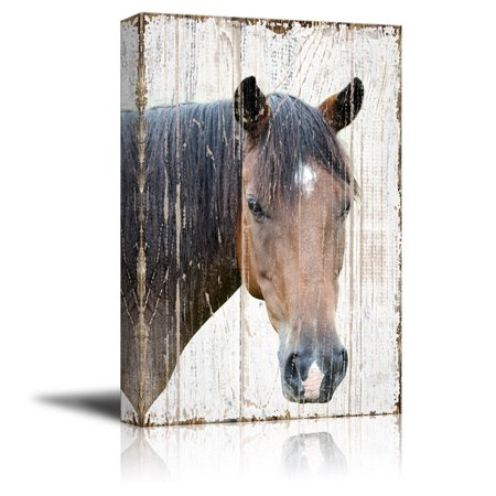 wall26 Canvas Print Wall Art - Head of a Horse on Rustic Style Wood Background - Gallery Wrap Modern Home Decor | Ready to Hang - 24x36