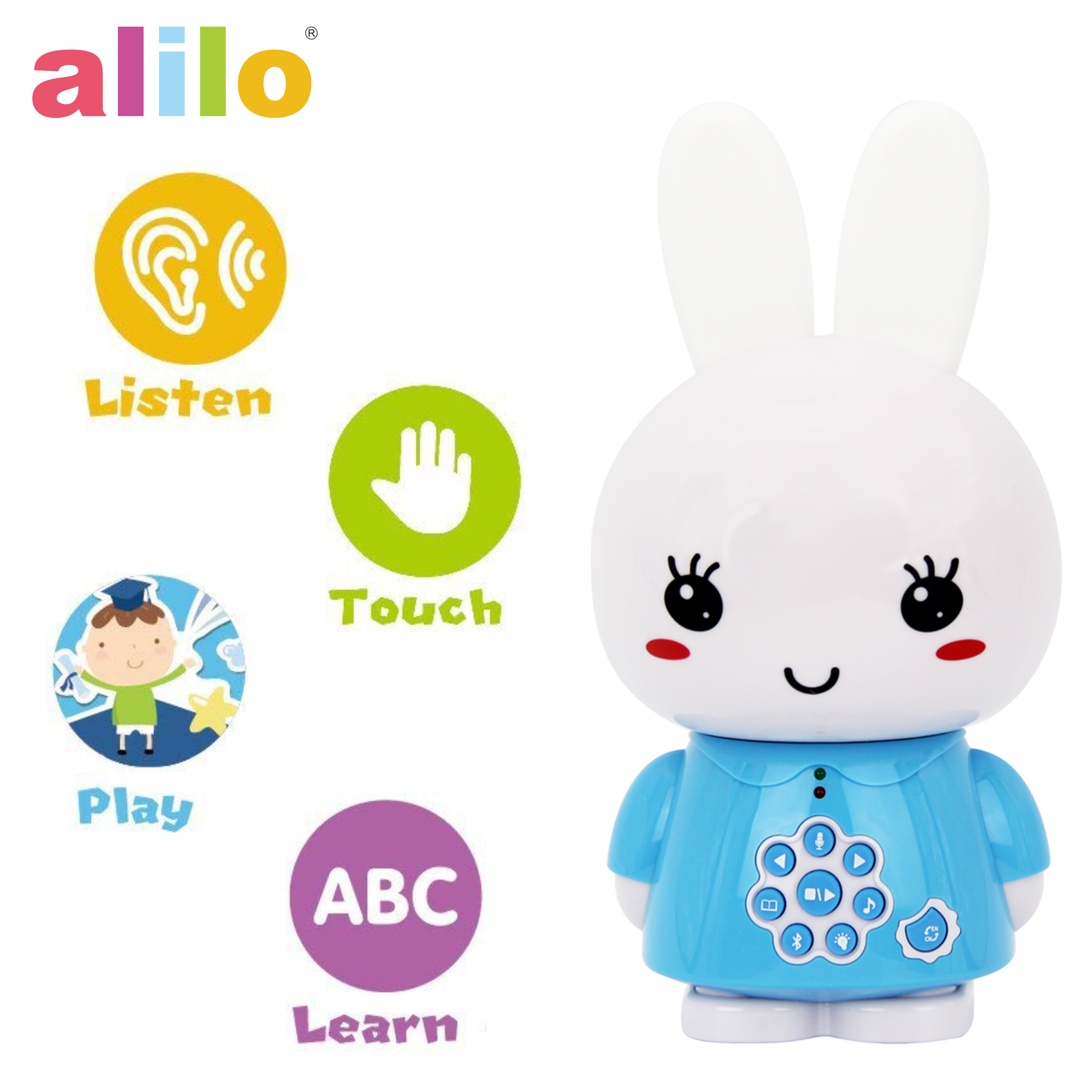 alilo Honey Bunny Story Teller Nursery Rhyme Lullaby Song Bedtime Story Fairy-tale Interactive Children Brain Kid Early Development Learning Toy Training Bluetooth English Chinese Bilingual G6X - Blue