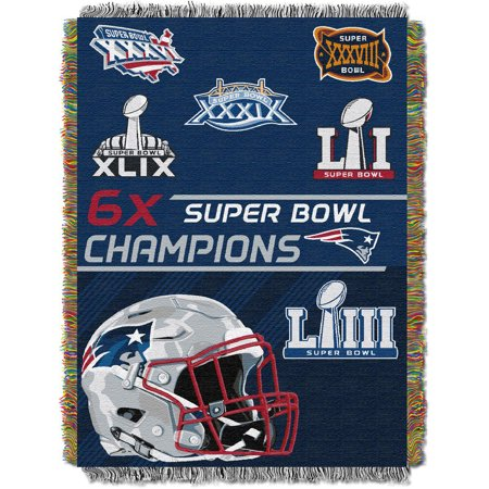 Northwest New England Patriots NFL Super Bowl Commemorative Woven Tapestry Throw (48x60) - New England Patriots Room Decor