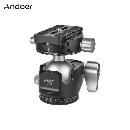 Andoer D-40 Professional Double Panoramic Head CNC Machining Aluminum Alloy Ball Head Double U Notch Design Low Center of Gravity for Tripod Monopod DSLR ILDC Cameras Max Load Capacity 25kg