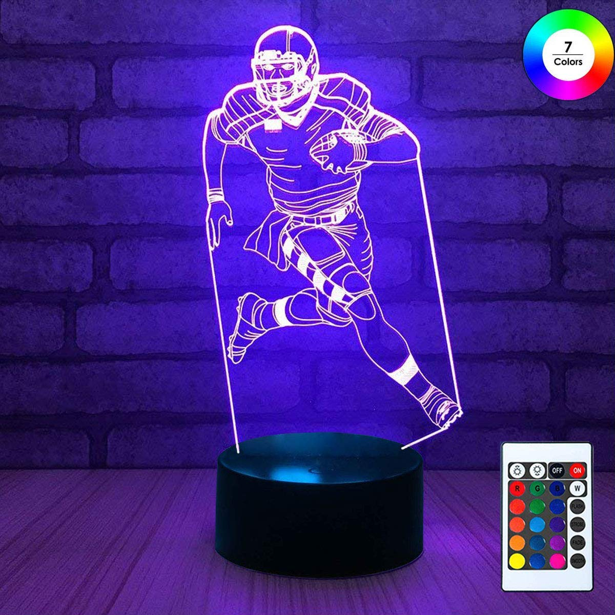 3D Remote Night Stand Light, EpicGadget Touch Control Optical Illusion Visualization LED Night Light Lamp 7 Colors Changing Remote Control Night Light Lamp Stand (Football Player)