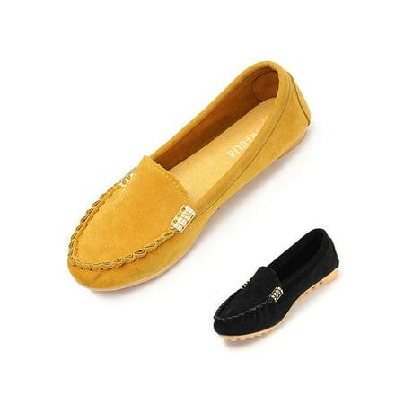 Meigar Women Loafers Comfort Moccasin Ballerina Ballet Flat - Childrens Gold Ballet Flats