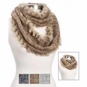 "Scarf-Infinity-Faux Fur Trim Cable Knit-Asst (8""X 57"") (Pack of 3)"