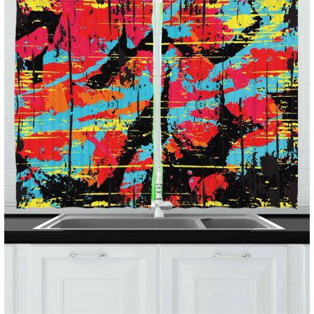 Urban Graffiti Curtains 2 Panels Set, Sketchy Graffiti Design with Grungy Dripping Paint Drops and Splashed Ink, Window Drapes for Living Room Bedroom, 55W X 39L Inches, Multicolor, by Ambesonne