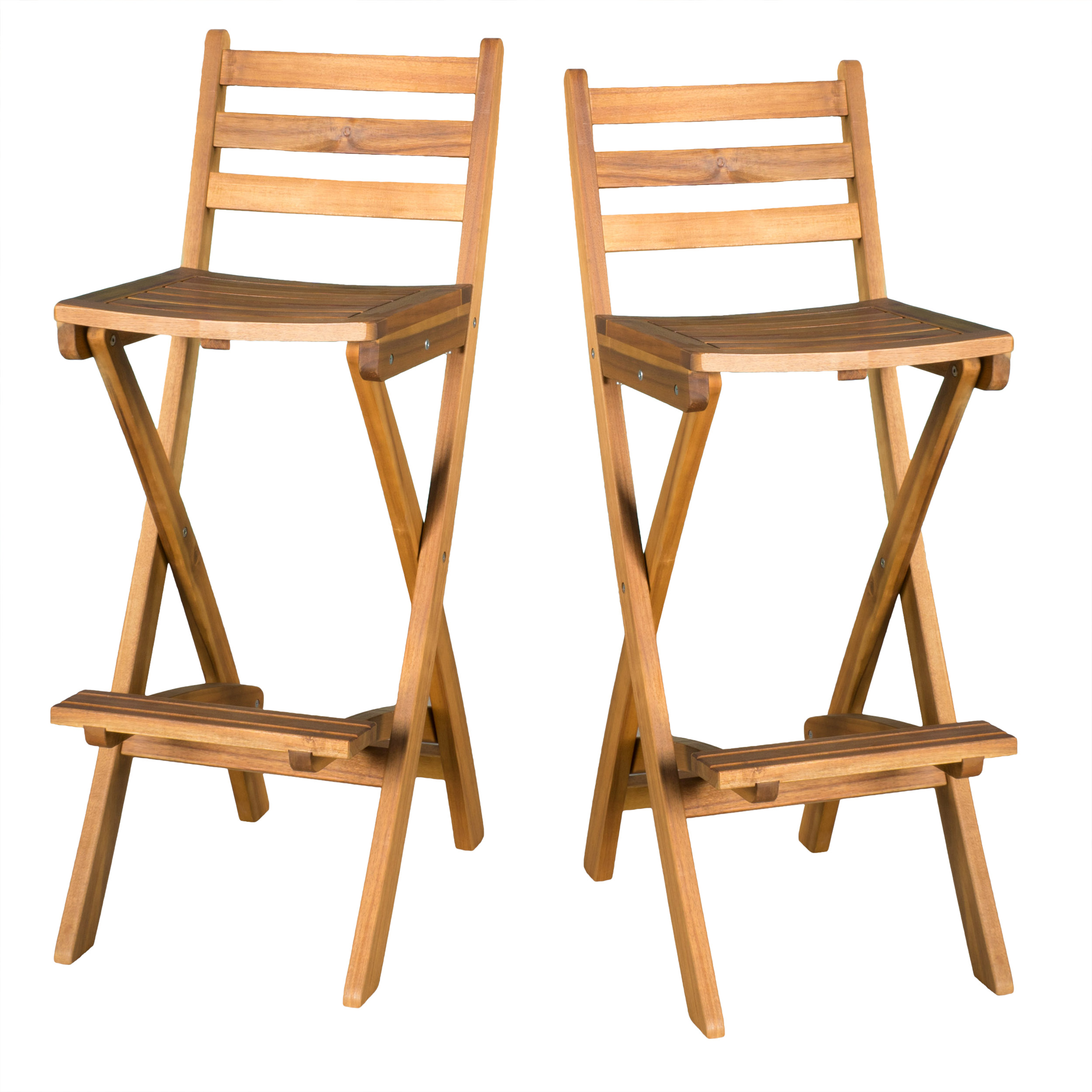 "Milano Outdoor 31"" Acacia Wood Bar Stool, Set of 2"