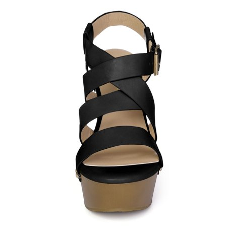 Women's Open Toe Platform Strappy Wedge Sandals Black US 11 - image 2 of 7