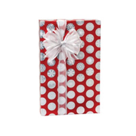 Red and Silver Polka Dots Foil Snowflake Dots Holiday /Christmas Gift Wrapping Paper 16ft](Snowflake Paper)