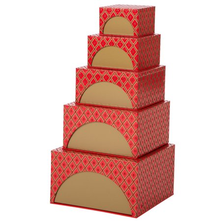- Glitzhome Nesting Box Tower Red 5 Piece Set Wedding Party Christmas Glitter Gift Boxes