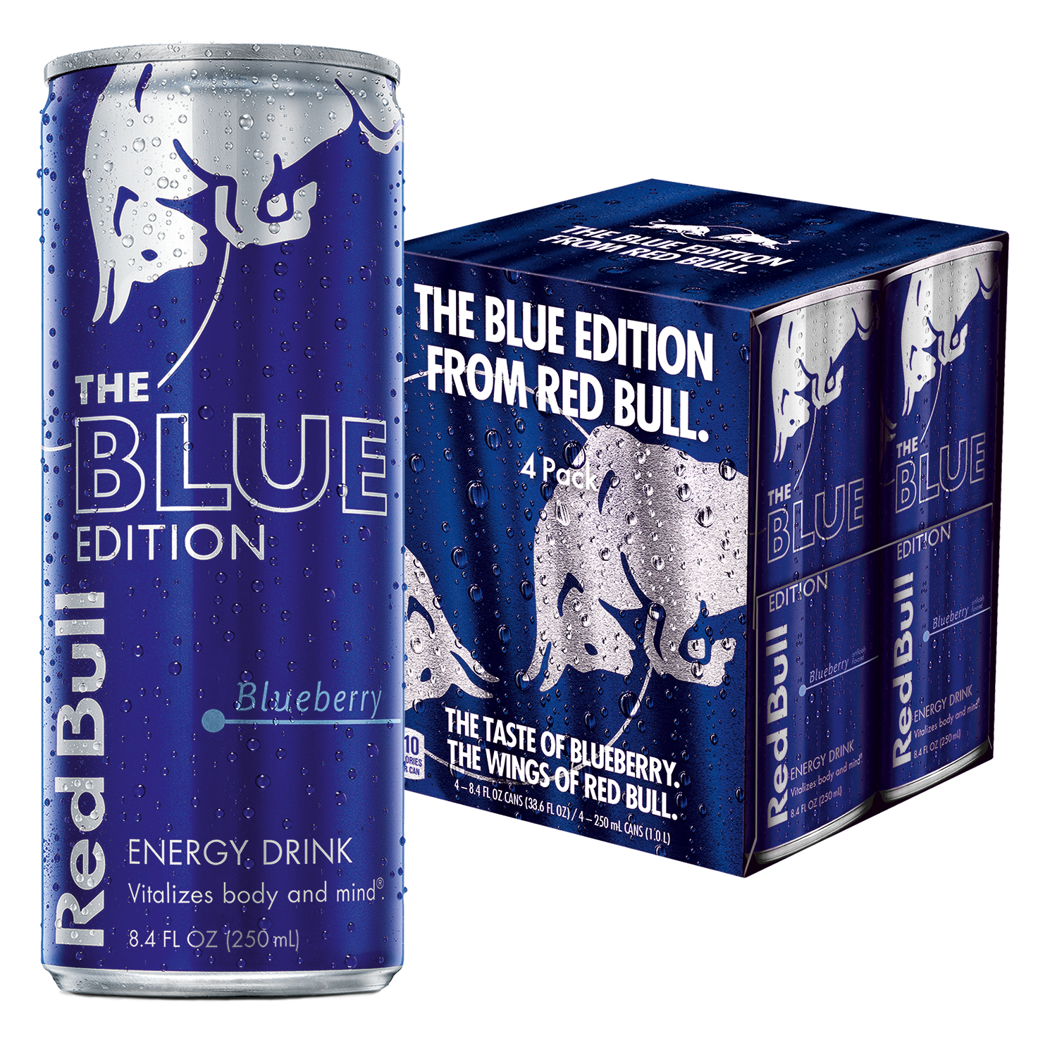 Red Bull Blue Edition, Blueberry Energy Drink, 8.4 Fl Oz Cans, 4 Pack