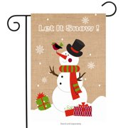 "Let It Snow Snowman Burlap Winter Garden Flag 12.5"" x 18"" Briarwood Lane"