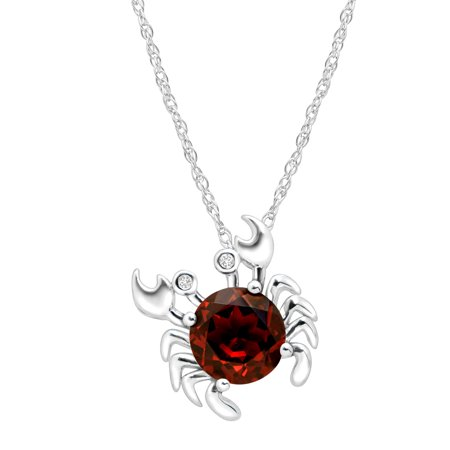 2 1/3 ct Natural Garnet Crab Pendant Necklace with Diamonds in Sterling Silver
