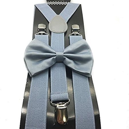 34087e10a3a1 coool - Adult GRAY Grey Suspenders and Bow Tie Set Adjustable Wedding Prom  - Walmart.com