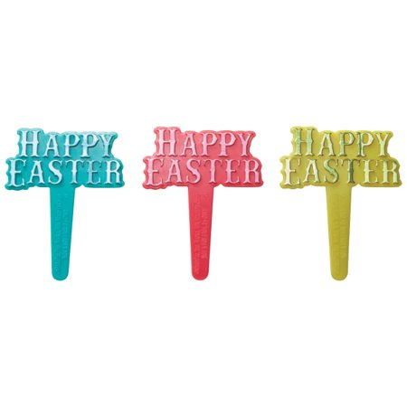 Happy Easter Foil Cupcake Picks - 24 Count