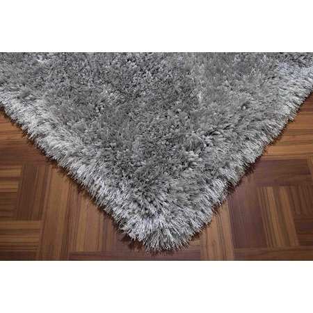 Fluffy Shag Shaggy Solid Modern Large Rectangle Deep Plush Pile Custom Contemporary 8-Feet-by-10-Feet Polyester Made Area Rug Carpet Rug Silver Color ()