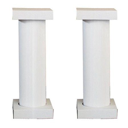 Fluted Cherry Pedestal - 4 ft. White Fluted Pedestal Pair