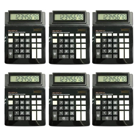 Dual Power Large Display Standard Function Desktop Basic Calculator Bulk Value 6 Pack