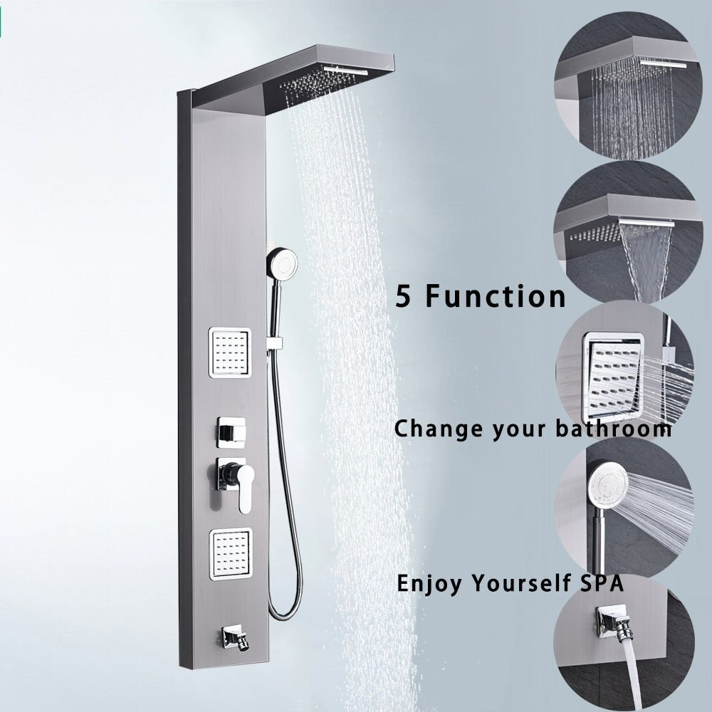 New MTN G SS Shower Panel Tower Rain Waterfall W/Massage System Body Jet