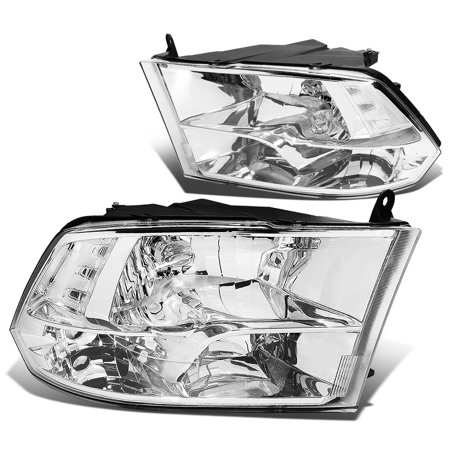 For 2009 to 2018 Dodge Ram Truck 1500 / 2500 / 3500 Pair of Headlight Chrome Housing Clear Corner Headamp - 4th Gen 10 11 12 13 14 15 16