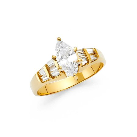 Genuine 9 Stone Marquise (Ladies 14K Solid Yellow Gold Marquise Cut Cubic Zirconia with Baguette Side Stones Wedding Engagement Ring, Size 5 )
