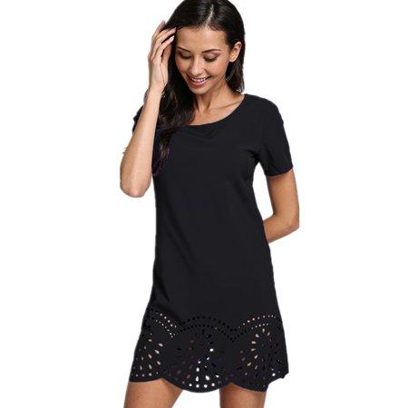 0fe5dcca7af Women s Boho Round Neck Short Sleeve Hollow-out Mini Dress - Walmart.com