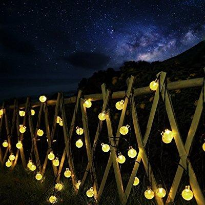 crystal ball bubble outdoor solar lights strings 30 led globe waterproof decorative string lights solar powered fairy lighting for garden patio tree party holiday outdoor decorations (warm white)