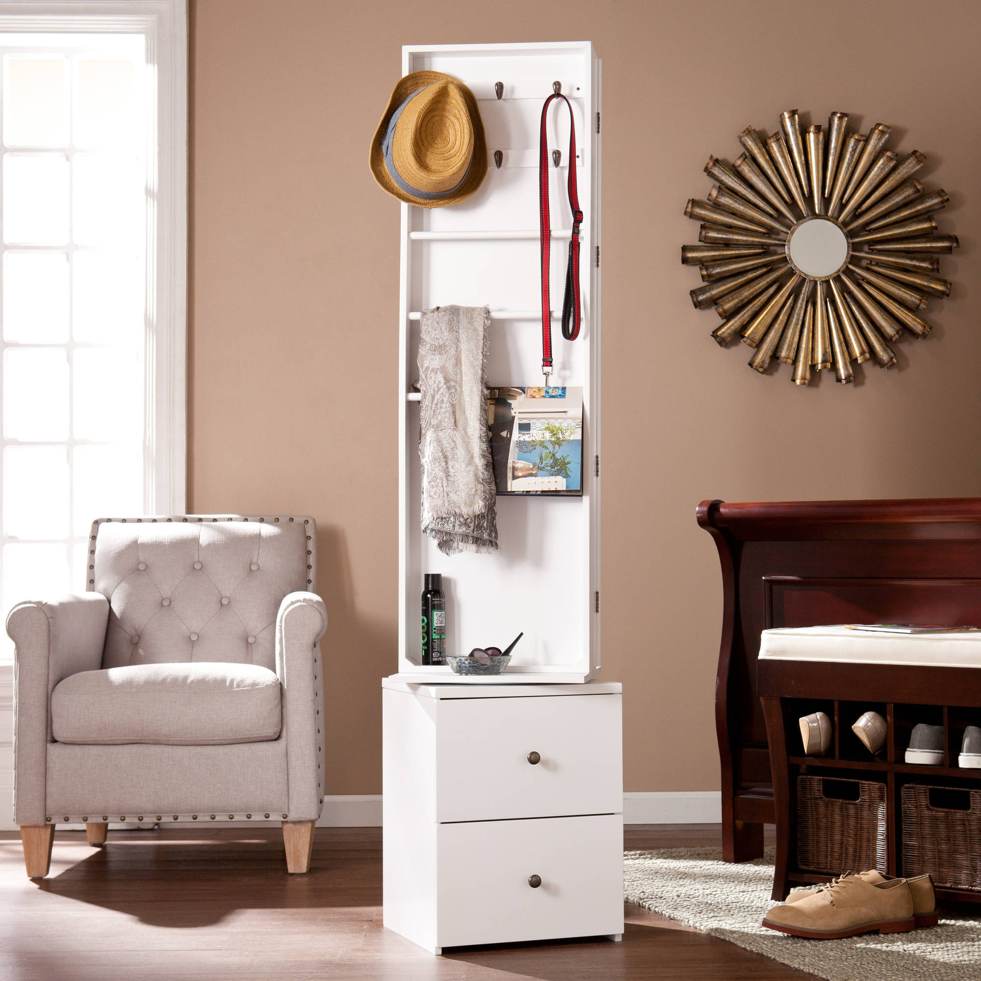 Southern Enterprises Derby Swivel Jewelry Organizer with Mirror, White