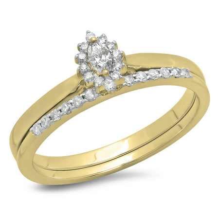 Dazzlingrock Collection 0.25 Carat (ctw) 10K Marquise & Round Cut Diamond Halo Engagement Ring Set 1/4 CT, Yellow Gold, Size 9