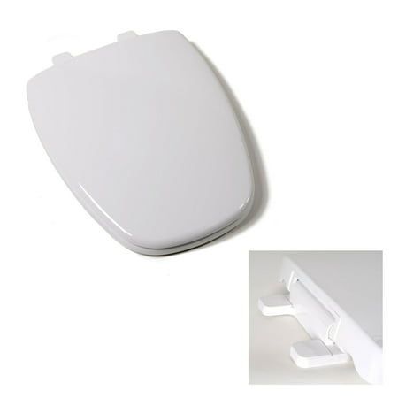 Deluxe Premium Plastic Square Slow Close White Elongated