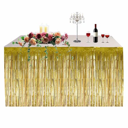 Hawaiian Party Decoration Fringed Table Skirt Celebration Thickened Table Skirt Curtain Holiday Supplies - Table Fringe Skirt