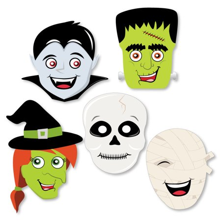 Halloween Monsters - Skeleton, Mummy, Vampire, Frankenstein & Witch Shaped Halloween Party Cut-Outs - 24 - Halloween Art Frankenstein
