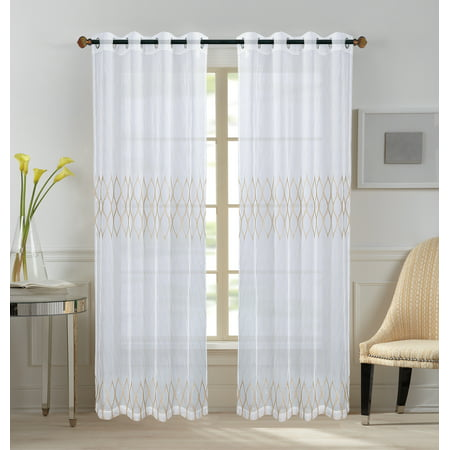 ALL FOR YOU 1 Piece Maria Embroidery Panel Cafe Curtain Kitchen Window Curtain Panel,W 54