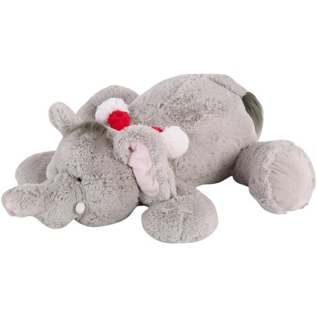 Holiday Time Floppy Pal Plush, Elephant, Gray, Made of Polyester for All Ages