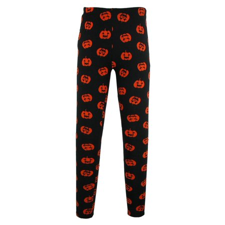 Women's Pumpkin Print Halloween Leggings,  Black](Black Milk Halloween Leggings)