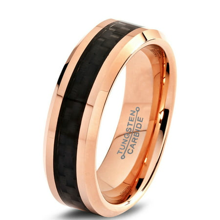 Tungsten Wedding Band Ring 6mm for Men Women Comfort Fit 18K Rose Gold Plated Plated Black Carbon Fiber Beveled Edge Polished Lifetime Guarantee