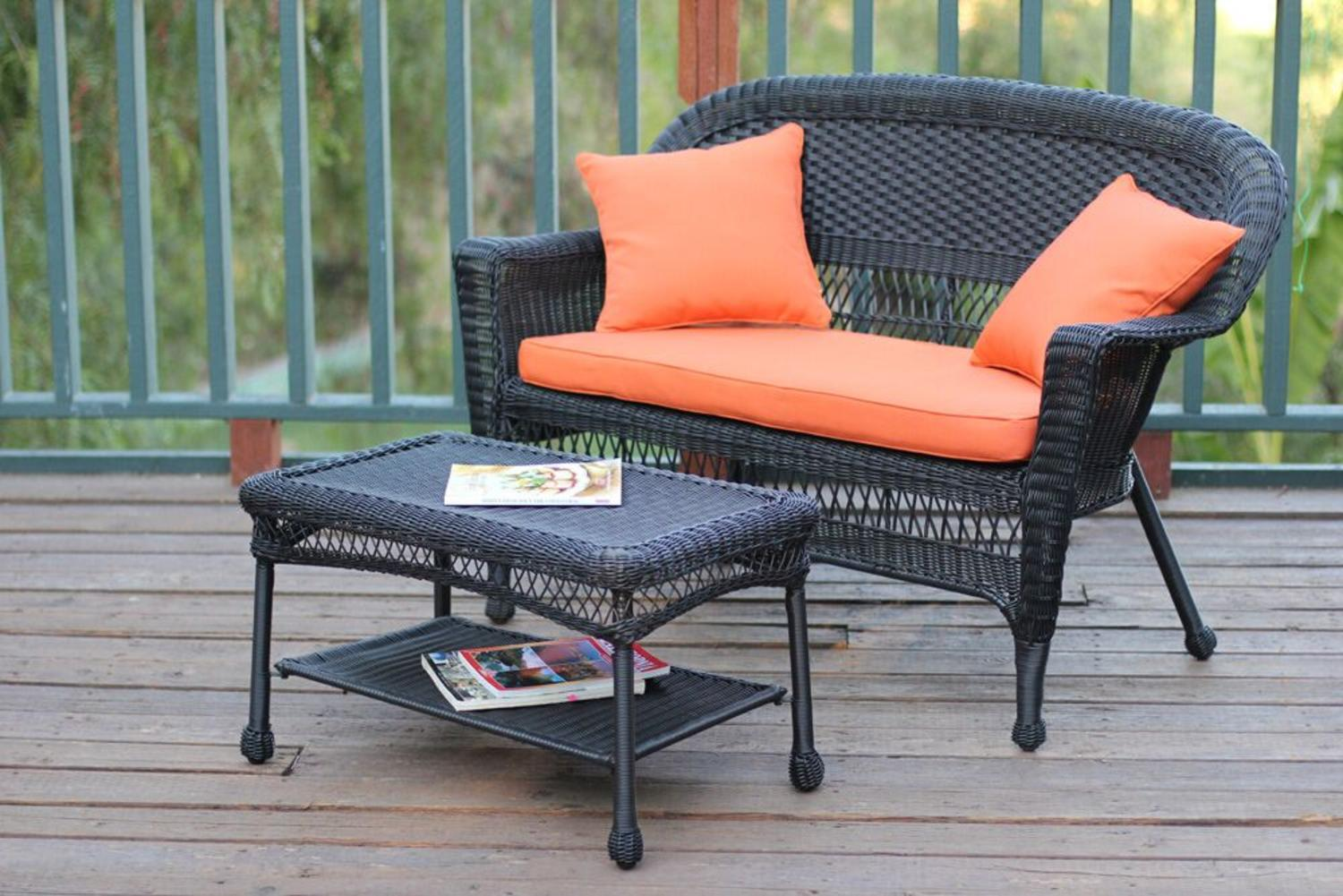 2piece oswald black resin wicker patio loveseat and coffee table set orange cushion