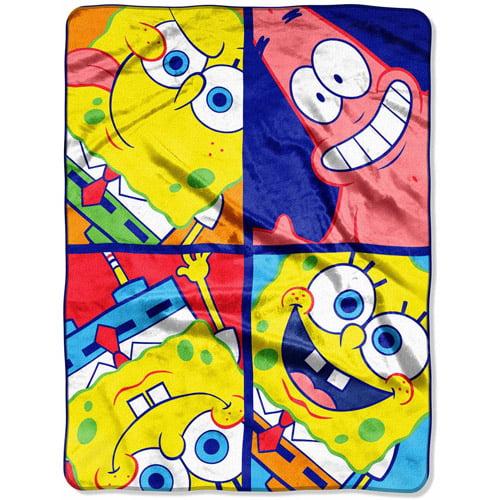 "SpongeBob SquarePants Color Crazy 46"" x 60"" Micro Raschel Throw"