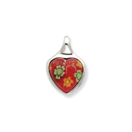 (Sterling Silver Red Glass Polished Heart Pendant)