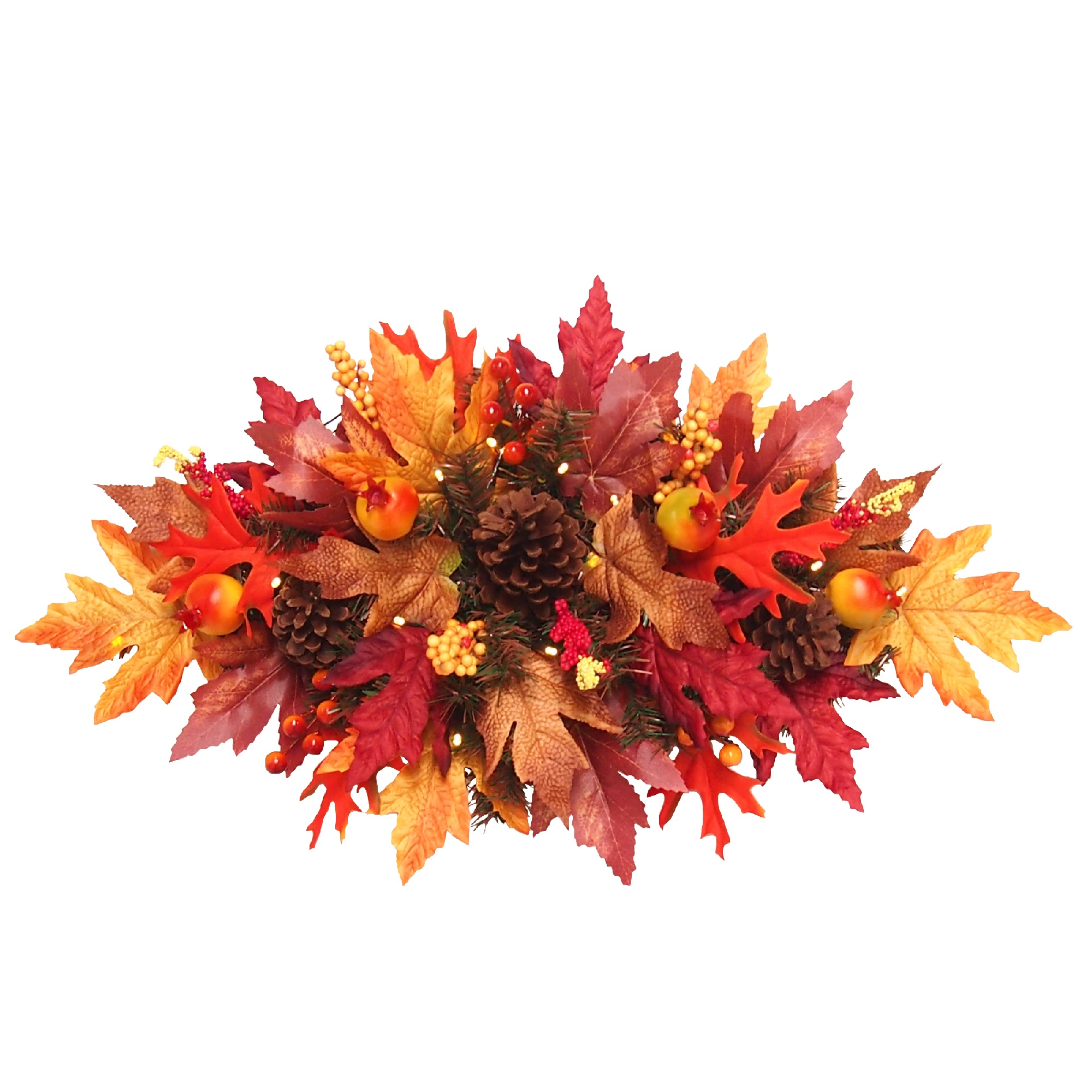 "24"" Pre-lit Maple Berries and Cones Artificial Christmas Swag – Warm White LED Lights"