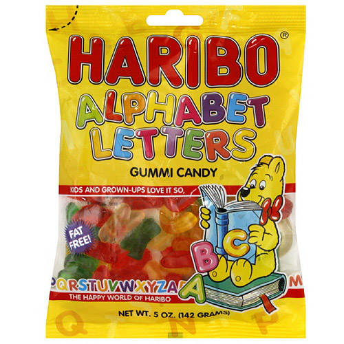 Haribo Alpha Letters Fruit Gummies, 5 oz (Pack of 12)