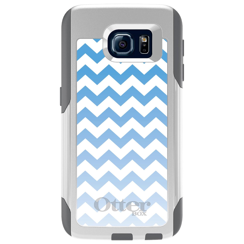 DistinctInk™ Custom White OtterBox Commuter Series Case for Samsung Galaxy S6 - White Blue Fade Chevron Stripes