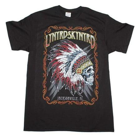 Live Nation Merchandise Lnm Ls1149 L Lynyrd Skynyrd Indian Skeleton Adult Mens T Shirt  44  Black   Large