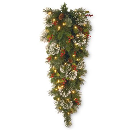 National Tree WP1-338-4TDB-1 4 ft. Wintry Pine Tear Drop Swag with Cones, Red Berries, Snowflakes & 50 Battery Operated Soft White LED Lights Target Led Lights