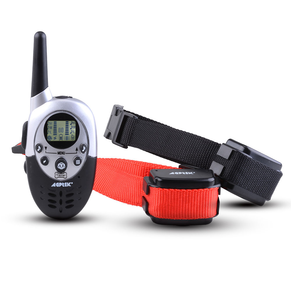 AGPtek 1000 Yard Rainproof 2 Dog Shock Training Collar with Remote Rechargeable 4 levels