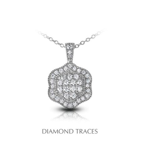 UD-OS3003-2964 0.68 Carat Total Natural Diamonds 18K White Gold Pave Setting Flower Shape with Milgrain Fashion